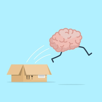 Gehirn, das vom kasten springt, denken sie heraus, kastenkonzeptvektorillustrationskarikatur flaches design