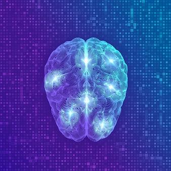 Gehirn. digital-gehirn auf dem strömen des hintergrundes des digitalen binären codes der matrix