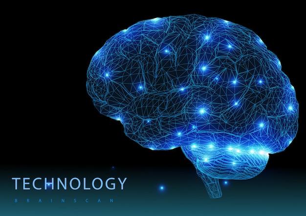 Gehirn. digitales gehirn. 3d-konzept für wissenschaft und technologie. neurales netzwerk. iq-tests, technologie zur virtuellen emulation künstlicher intelligenz. brainstorming denken idee.