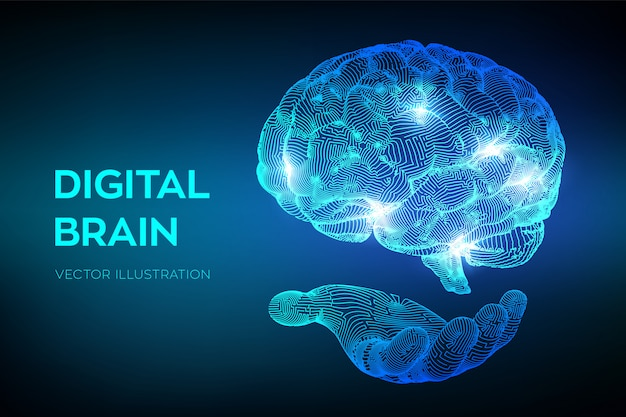 Gehirn. digitales gehirn in der hand.