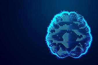 Gehirn, Digitaltechnikkonzept, abstraktes Poly, Dreieck, Punkt, Linie, Polygon.