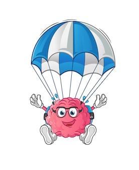 Gehirn fallschirmspringen charakter. cartoon maskottchen