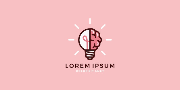 Gehirn glühbirne lampe logo intelligente idee vektor download