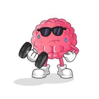 Gehirn heben hantel. zeichentrickfigur