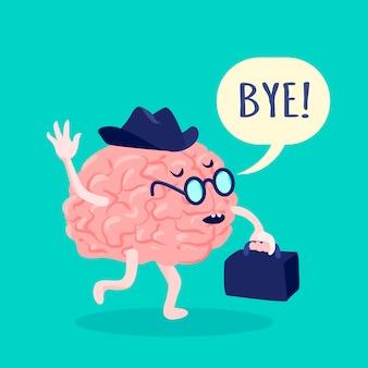 Gehirn im hut und in den gläsern, die tschüss mit flacher vektorillustration des koffers sagen