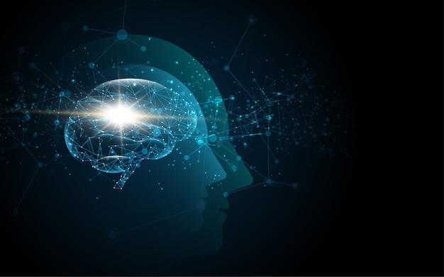 Gehirn im kopf eines menschen