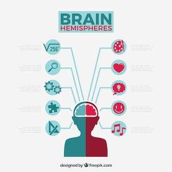 Gehirn-infografik mit symbolen