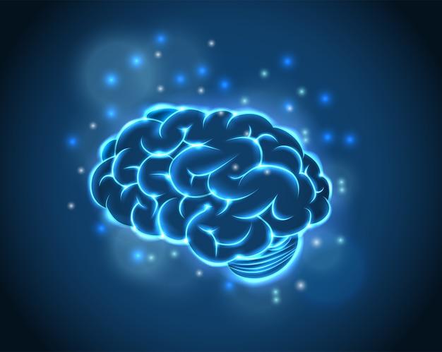 Gehirn-konzept des blauen hintergrundes