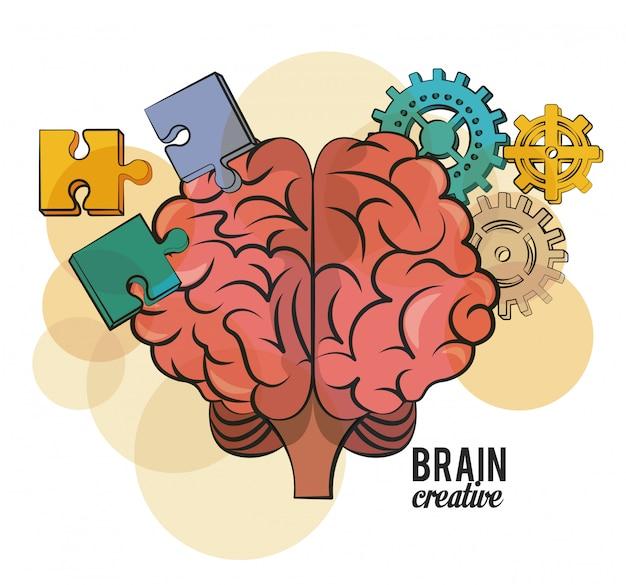 Gehirn kreative rätsel und zahnräder