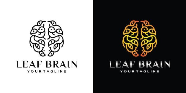 Gehirn-logo mit blatt