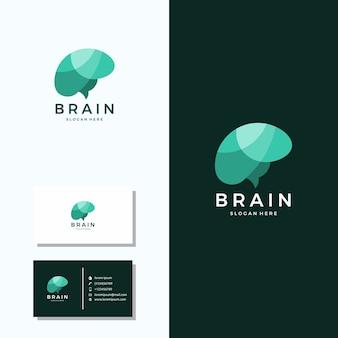 Gehirn-logo mit visitenkarte-logo-design