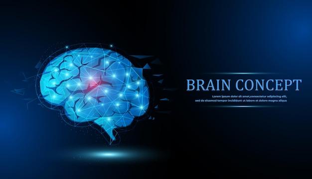 Gehirn low-poly-abstraktes digitales menschliches gehirn neuronales netzwerk iq-test