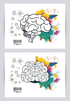 Gehirn macht illustration mit farbspritzern und flugzeugen