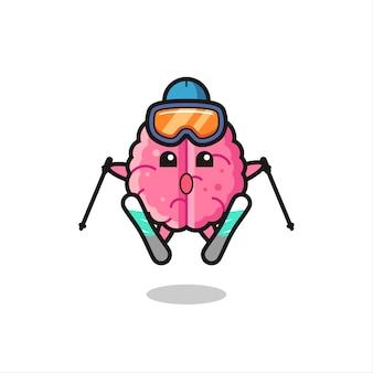 Gehirn-maskottchen-charakter als skispieler, süßes stildesign für t-shirt, aufkleber, logo-element
