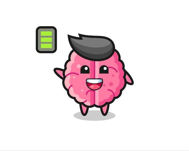 Gehirn-maskottchen-charakter mit energetischer geste, süßem design für t-shirt, aufkleber, logo-element