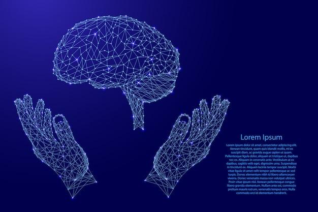 Gehirn, menschliches organ und zwei halten, hände vor futuristischen polygonalen blauen linien schützen