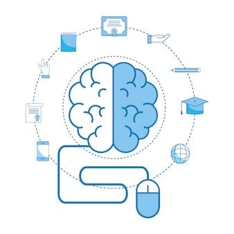 Gehirn mit bildungsabschluss und abschlusskappe
