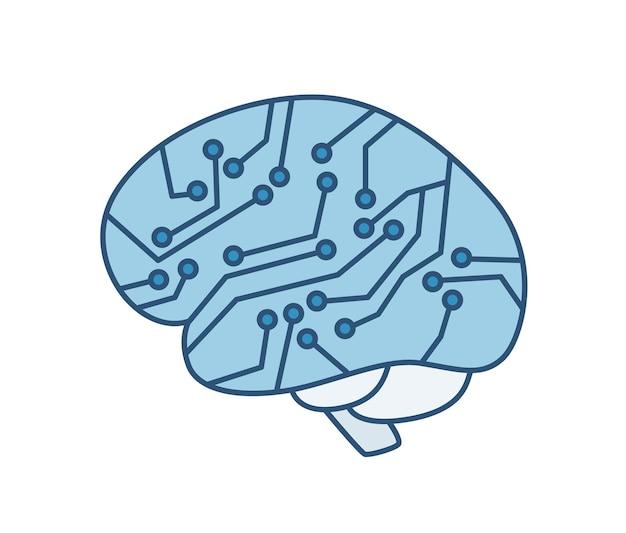 Gehirn mit integriertem schaltkreis isoliert auf weißem hintergrund. künstliche intelligenz, roboterbewusstsein, high-tech-innovation, futuristische technologie. vektorillustration in der modernen linie kunstart.