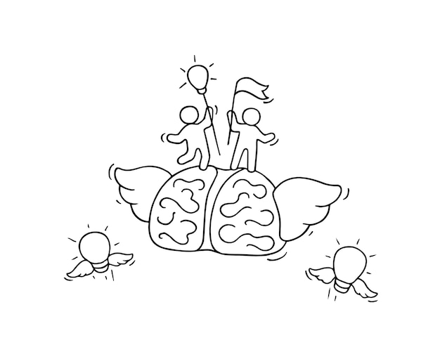 Gehirn mit kleinen arbeitern. kritzeln sie niedliche miniatur über führung und brainstorming.