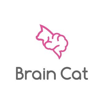 Gehirn mit kopfkatze umreißt einfachen modernen logo-designvektor