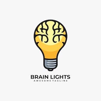 Gehirn mit lampenlogo-designvektor