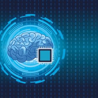Gehirn mit mikrochip