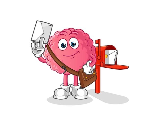 Gehirn postbote. zeichentrickfigur