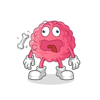 Gehirn rülpsen maskottchen cartoon lokalisiert auf weiß