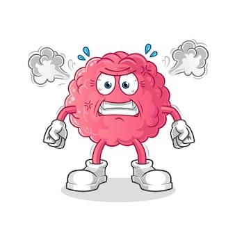 Gehirn sehr wütend maskottchen isoliert auf weiß