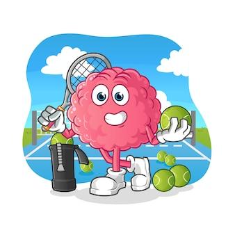 Gehirn spielt tennisillustration. charakter