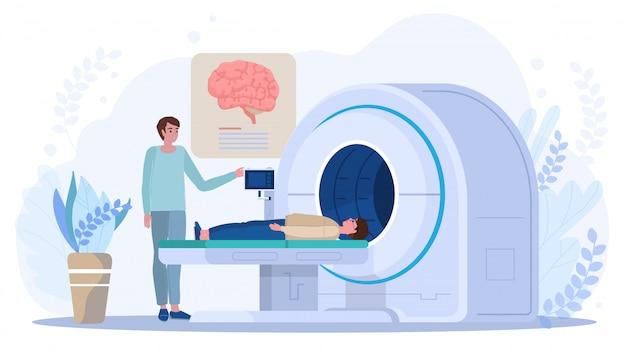 Gehirnabtastung im mrt-gerät, arzt und patient in der klinik, vektorillustration