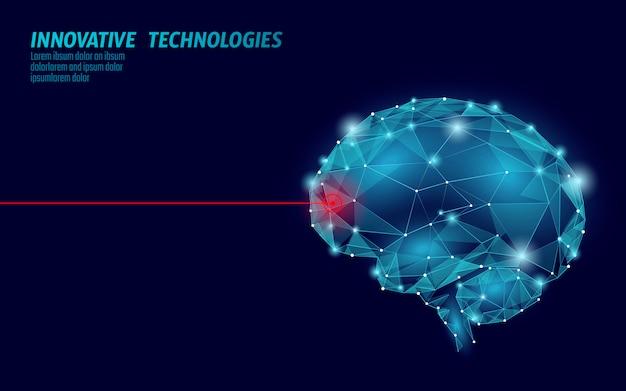 Gehirnbehandlung 3d-rendering. medizinische kognitive laserrehabilitation bei alzheimer-krankheit und demenzvektorillustration