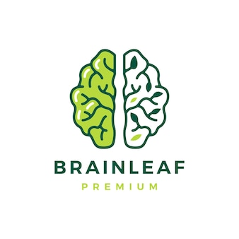 Gehirnblatt denken intelligente natürliche baumlogoschablone