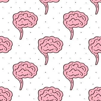 Gehirne, menschliches organ, körperhand gezeichnetes nahtloses muster
