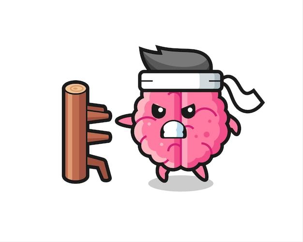 Gehirnkarikaturillustration als karatekämpfer, niedliches stildesign für t-shirt, aufkleber, logoelement