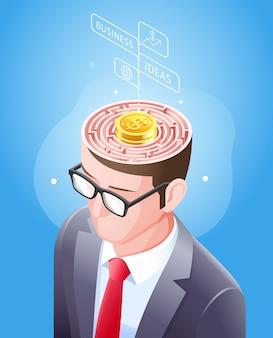 Gehirnlabyrinth mit goldmünze im geschäftsmannkopf