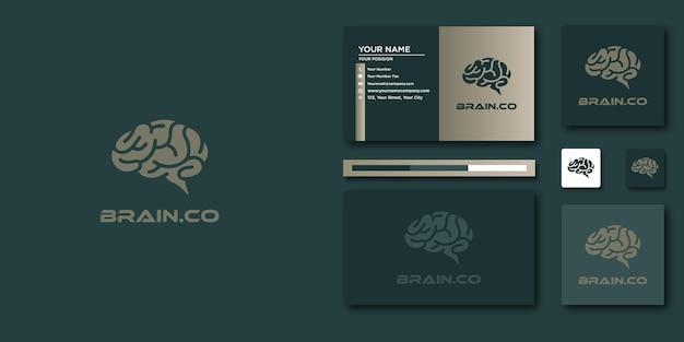 Gehirnlogo oder gehirnvektorlogo und visitenkarte