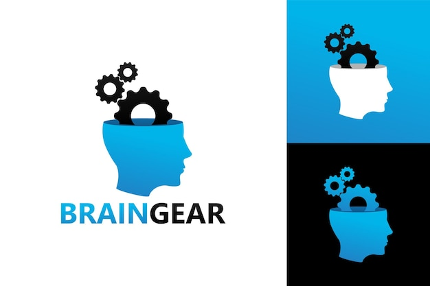 Gehirnmaschine, kopf- und zahnradlogoschablone premium-vektor