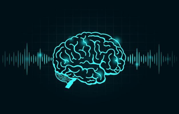 Gehirnwelle und frequenzlinie auf schwarzem diagramm