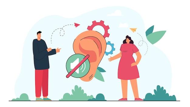 Gehörloser mann und frau, die durch gebärdensprache kommunizieren. behinderte menschen reden, riesiges ohr flache illustration