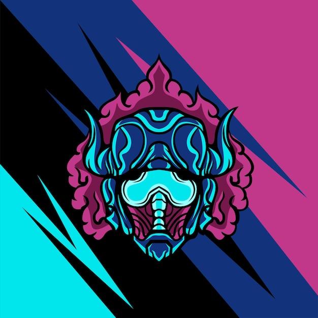 Gehörnte giftige maske für logo-maskottchen-spiele oder andere