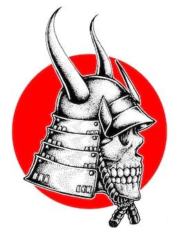 Gehörnter samurai-kriegshelm-schädel