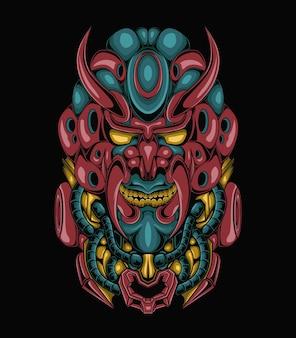Gehörnter schädel illustration ornament