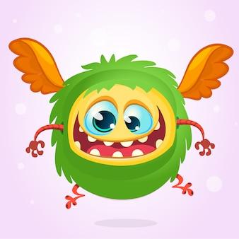 Gehörntes lustiges monster der karikatur, illustration des aufgeregten monsters
