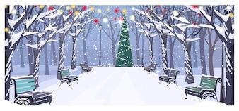 Gehweg im Winterstadtpark mit Bänke und verziertem Tannenbaum