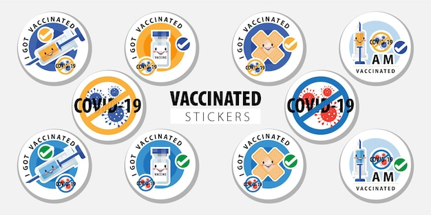 Geimpfter aufkleber oder impfrunde mit zitat - ich habe covid-19 geimpft, ich bin covid-19 geimpft. coronavirus-impfstoffaufkleber mit medizinischem pflaster, spritze und behandlungssymbol vektor