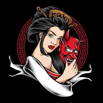 Geisha hält eine maske