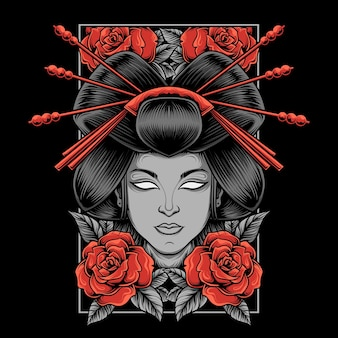 Geisha-illustration mit rosen