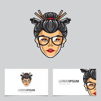 Geisha-kopf logo name card vector template