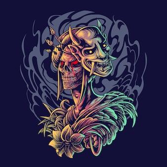 Geisha kopf maskottchen logo